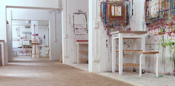 malatelier himmelsgr n malen in m nchen offenes atelier. Black Bedroom Furniture Sets. Home Design Ideas
